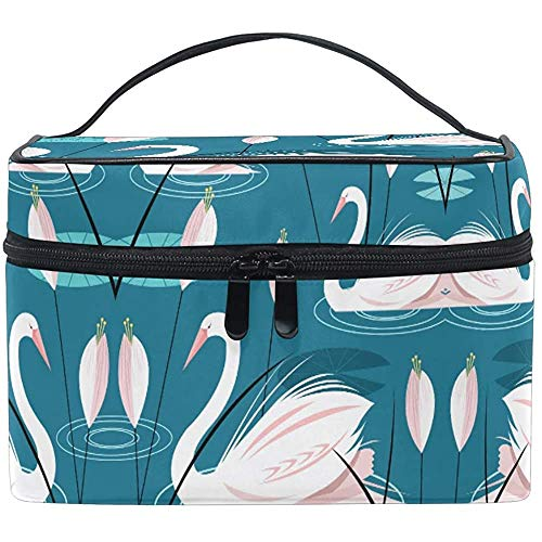 Trousse de Maquillage Rose Swan Pond Lotus Cartoon Cartoon Cosmetic Bags Organizer Train Case Toiletry Make Up Pouch