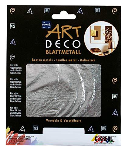Kreul 99402 - Art Deco Blattmetalle, zum Veredeln auf Holz, Glas, Papier, Leinwand, Styropor, Wachs, Keramik, Metall, Leder und Stein, ca. 14 x 14 cm, 6 Blatt in silber