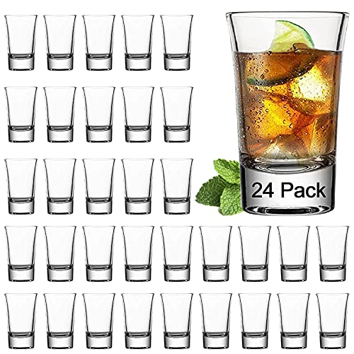 Farielyn-X 24 Pack 1.2 Ounce Heavy Base Shot Glass Set, Whiskey Shot Glasses 1.2 oz, Mini Glass Cups...