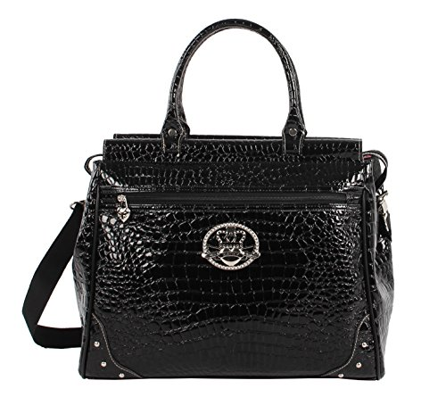 Kathy Van Zeeland Croco PVC Designer Handbag - 16 Inch Dowel Bag Carry On Luggage - Lightweight Durable Travel Overnight Work Purse for Women (Black)