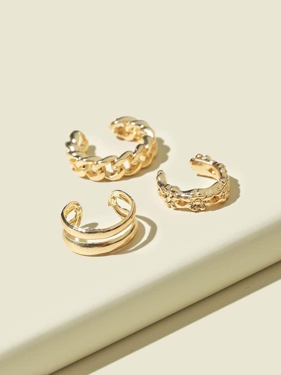 LCUY Hoop Earrings 3pcs Chain Design Ear Cuff (Color : Gold)