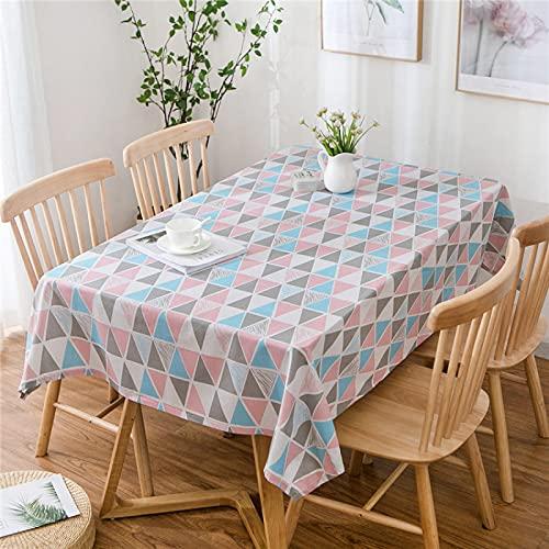 XGguo Mesa de Comedor Lavable Cubierta de Lino de Tela con Celosía Cuadrada Pastoral Fresca