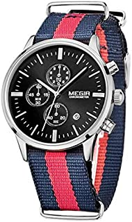 Megir Watch for Men, Canvas Band, Chronograph, M-2014