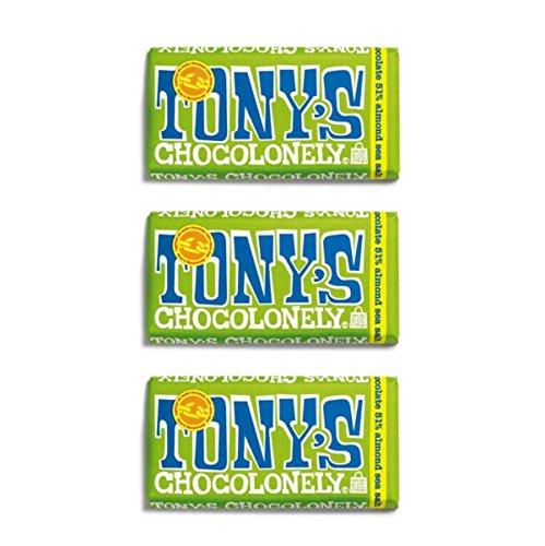 Tonys Chocolonely 'puur amandel zeezout' 3 x 180g