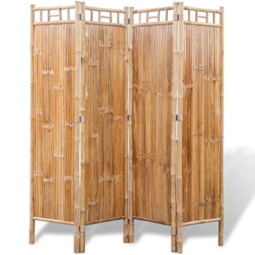 Vislone Plegable Biombos Diseño 4-Panel Biombo de Bambú Biombo Divisor Separador de Habitaciones Espacios Divisoria 160x160cm