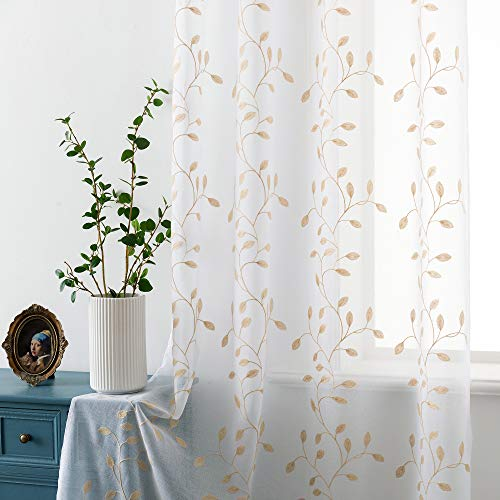 Super Soft Faux Linen Voile Curtains Grommet Leaf Floral Embroidered Sheer Curtains Eyelets Transparent for Bedroom W52 x L63 Inches Linen 2 Panels