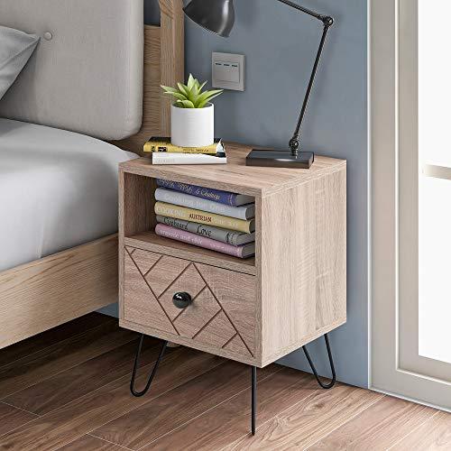 Nachttisch Aufbewahrungsschrank Kommode, einzigartige Feste Rückwandplatine und einzigartige Zig-Zag-Design Eiche Schlafzimmermöbel (1 Drawer)