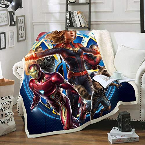 Manta de franela de superhéroe, diseño de Superhéroes Marvel Avengers para cuatro estaciones para sofá, cama, salón o dormitorio (I,pequeño, 100 x 140 cm)