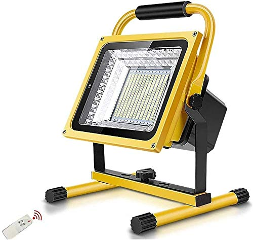 Floodlight LED 1200W 9000LM LED luz de Trabajo | Luz de Trabajo LED de iluminación portátil Recargable con Luces de Seguridad remotas Excellent