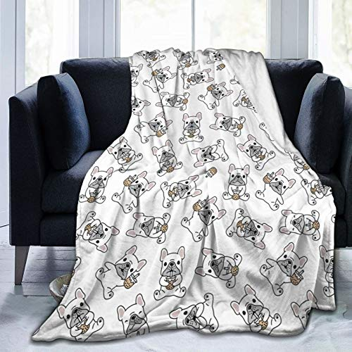 Flannel Fleece Blanket Full Size French Bulldog Blanket,All-Season Plush Blanket for Couch Bed Travelling Camping Or Kids Adults 80'X60'