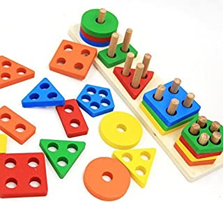 Revanak Wooden Educational Preschool Toddler Toys for 1 2 3 4 5 Year Old Boys Girls Shape Color Recognition Geometric Board Blocks Stack Sort Chunky Puzzles Kids Children Baby Non-Toxic Toy