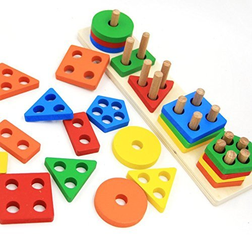 Revanak Wooden Educational Geometric Board Blocks
