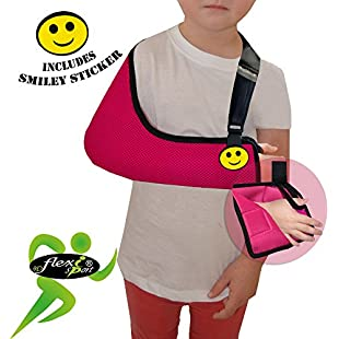Child Arm Sling Shoulder Support (Rasp, 4-5yrs) XTRA deep, light, airflow cooling ULTRA COMFORT. PLAY-SAFE with integrated functional thumb loop, easy sizing adjustable fit, reversible L/R arm. Includes SMILEY sticker. UNISEX.