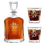 Murrano Whiskey Karaffe + 2er Whiskygläser Set mit Gravur - 700ml Whisky Dekanter - Geschenk zum Geburtstag für Damen - Name