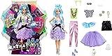 Barbie Extra coffret poupée articulée aux cheveux bleus avec accessoires pour créer plus de 30 looks tendance et oversize, jouet pour enfant, GYJ69
