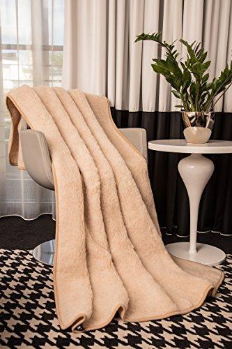 Mayaadi-Home Wolldecke aus Reiner Merino-Schafschurwolle Tagesdecke Bio-Wohlfühldecke 100prozent Wolle Beige 180x200cm
