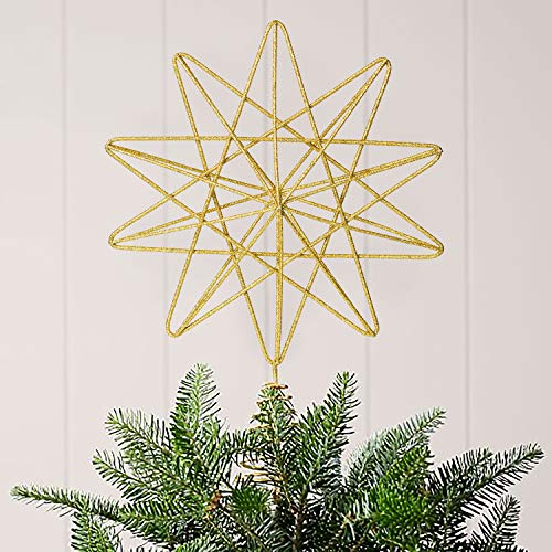 Lvydec Metal Glittered Christmas Tree Topper, 13.4' X 9.6' Gold Star Tree Topper Metal Wire Star Christmas Treetop Decoration for Festival Home