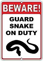 注意してください! 義務のおかしい引用アルミニウムメタルサインにヘビを守る