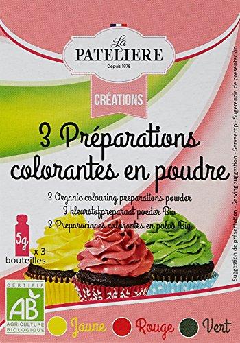 LA PATELIERE Préparations Colorantes en Poudre Rouge/Vert/Jaune Bio 15 g