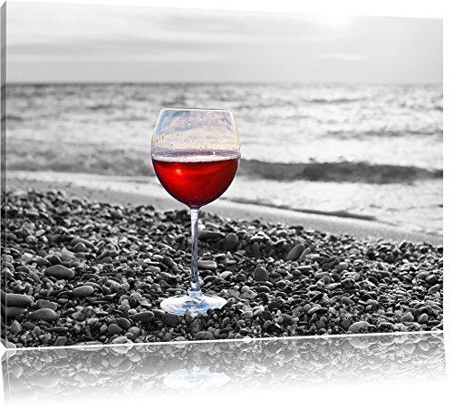 Pixxprint Weinglas am Steinstrand Schwarz/Weiß, Format: 120x80 auf Leinwand