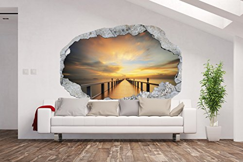 Vlies Fototapete / Poster XXL /3D Wandillusion /Loch in der Wand *Sonnenuntergang*