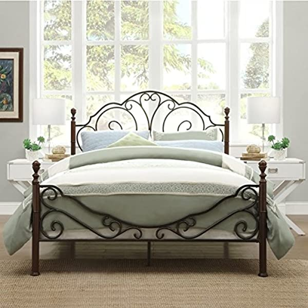 LeAnn Graceful Scroll Bronze Iron Bed Frame King