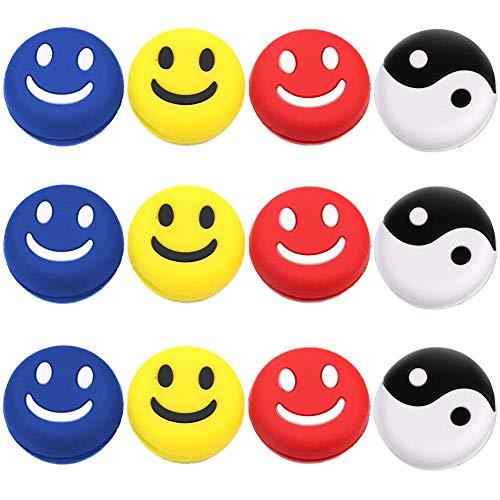 INTVN 12Piezas Amortiguador de vibración teins,antivibradores de tenis de silicona,Raqueta de Tenis Accesorios tenis emoji Novedad y Durabilidad, 4Estilo