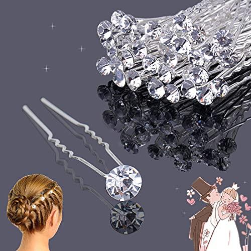 XCOZU - 30 horquillas para el pelo para boda, accesorios de boda, accesorios para novia, accesorios para el pelo de boda, accesorios para el cabello con diamantes de imitación para mujeres y niñas