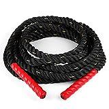CapitalSports Monster Rope Cuerda Cross-Training (12 Metros Longitud, 3,8 cm diámetro, Nailon, Cabo Triple, Extremos con Funda termoretráctil Evita Quemaduras) - Negro Rojo