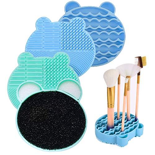 Cyleibe 2 alfombrillas limpiadoras de brochas de maquillaje,