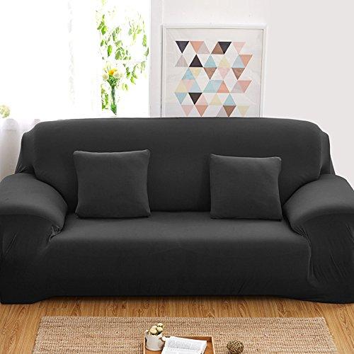 Reelva Sofa-Überzug für 2-Sitzer-Couch, Überwurf, besonders elastischer Stoff, waschbar, schwarz, 2-Sitzer
