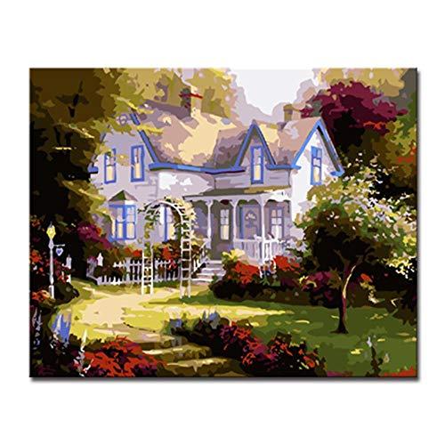 Mmdianpu Dekoration Für Wohnzimmer Leinwand Kunstdruck Gartenhaus Landschaft Kunst Bilder Abstrakte Leinwand (60x90 cm kein Rahmen)