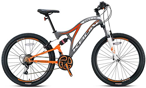 KRON ARES 4.0 Vollgefedertes Kinder Mountainbike 20 Zoll ab 6, 7, 8, 9 Jahre   21 Gang Shimano Kettenschaltung mit V-Bremse   Kinderfahrrad 14 Zoll Rahmen Vollfederung   Grau Orange
