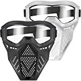 POKONBOY Upgraded 2 Pack Tactical Face Mask, Face Mask with Goggles Compatible with Nerf Rival, Apollo, Zeus, Khaos, Atlas, Artemis and N-Strike Elite Blasters (White & Black )