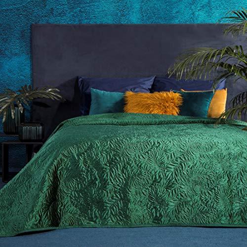 Eurofirany Luxuriöse Tagesdecke Steppdecke Bettüberwurf 220x240 Blaue Steppdecke Blätter Muster Steppung Palme Dunkelgrün Grün zur Wahl (Dunkelgrün)