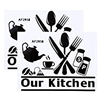 黒のPVCキッチンの装飾ウォールアートステッカーウォールステッカー、防水文字DIYウォールステッカー、キッチンの装飾のための家