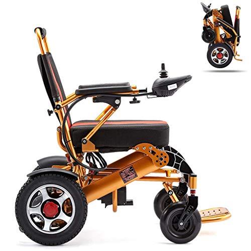 Ancianos Discapacitados Silla de Ruedas Eléctrica Plegable, Silla de Ruedas Ligera Scooter Eléctrico Todo Terreno Silla Eléctrica de Doble Motor Batería de Litio 12A 15Km Aleación de Aluminio para To