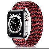 Nuovo cinturino elastico in nylon per Apple Watch 6 Se Band per IWatch Serie 5 4 3 Cinturino cinturino intrecciato Solo Loop 38mm 40mm 42mm 44mm Cinturino per orologio (colore cinturino: nero rosso,