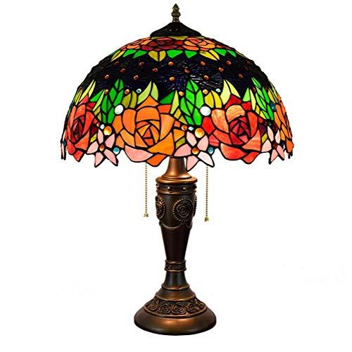 ZGQA-GQA Tiffany Lampada da Tavolo Rosa Fiore Ombra 16 Pollici Stained Glass Stile Tiffany al Coperto (40cm) Soggiorno Lampada da Comodino Lampada