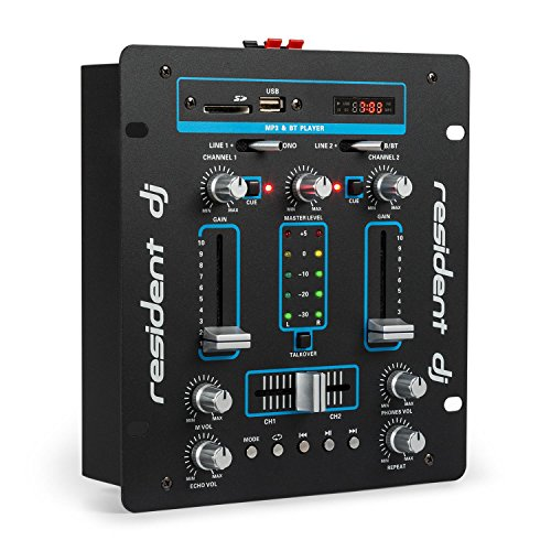 Resident DJ DJ-25 - DJ-Mixer, Mesa de Mezclas, 2 Canales, Compacta, Bluetooth, USB, SD, 2 entradas de línea, Fácil de Usar, Sólida, Pantalla LCD, 2 terminales para Altavoz, Negro/Azul