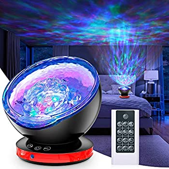 Ocean Wave Projector,12LED Night Light Projector with Adjustable Lightness Remote Control Timer,8 Color Changing Lighting Modes Galaxy Projector Lights for Bedroom BabyDecoration
