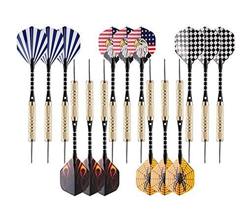 DXIA Dartpfeile, 15 Stück Steel Darts Pfeile Set, 18 Gramm Profi mit Metallspitze, Aluminium Schaft,Dart Point Spitzer (B)