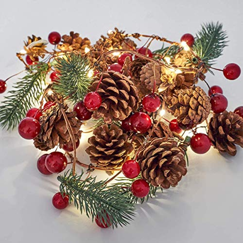OasisCraft 6.5FT Prelit Christmas Garland Decorations of Red Berries, Pine Cones & Evergreen Pine Needle - 30 LED Lights Battery Operated Artificial Christmas Garlands for Indoor Outdoor