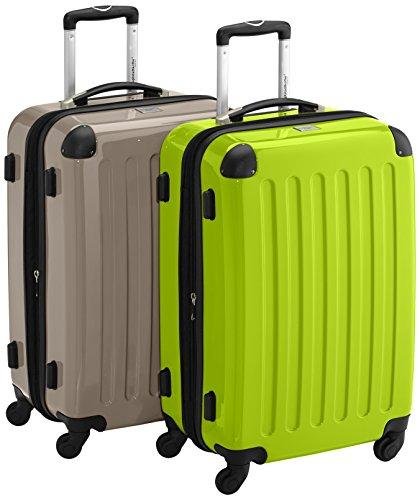 HAUPTSTADTKOFFER - Alex - 2er Koffer-Set Hartschale glänzend, 65 cm, 74 Liter, Champagner-Apfelgrün