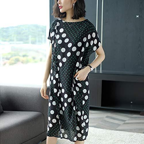 BINGQZ Cocktailjurken Polka-dot zijden jurk vrouwelijke zomerjurk losse rechte temperament zijden rok