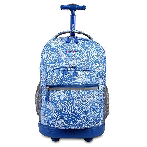 J World New York Sunrise Rolling Backpack, Wave, 18'