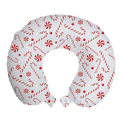 ABAKUHAUS Zuurstok Reiskussen, Holiday Eten, Reisaccessoire met Geheugenschuim voor Vliegtuig en Auto, 30 cm x 30 cm, Rood Wit Coconut