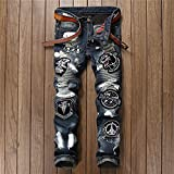 ShSnnwrl Straight Vaqueros para Hombre Fashion Ripped Biker Jeans European and American Style Men Pants 38 001-2