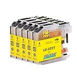 5 Cartuchos de tinta compatible para Brother LC223XL Amarillo con chip para Brother DCP-J4120DW /...