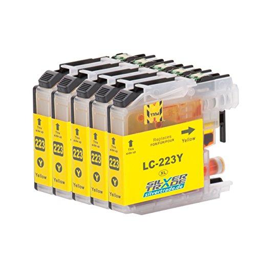 5 Cartuchos de tinta compatible para Brother LC223XL Amarillo con chip para Brother DCP-J4120DW / MFC-J4420DW / MFC-J4620DW / MFC-J4625DW / MFC-J4425DW / MFC-J5320DW / MFC-J5620DW / MFC-J5625DW / MFC-J5720DW